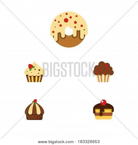 Flat Cake Set Of Confectionery, Doughnut, Cupcake And Other Vector Objects. Also Includes Donuts, Dessert, Pastry Elements.