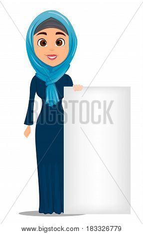 Arabic woman standing near big blank sign. Cute businesswoman cartoon character. Stock vector