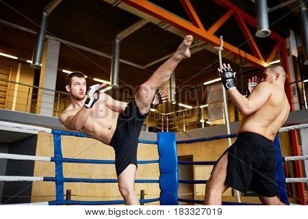 Portrait of shirtless wrestler fighting with opponent in boxing ring at fight practice: performing high kick in head