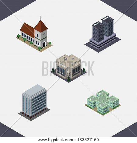 Isometric Architecture Set Of Company, Tower, Office And Other Vector Objects. Also Includes Catholic, Company, Office Elements.