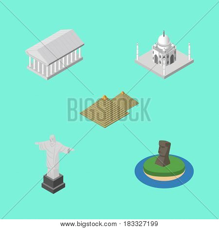 Isometric Travel Set Of Egypt, Rio, Chile And Other Vector Objects. Also Includes Acropolis, Egypt, Monument Elements.