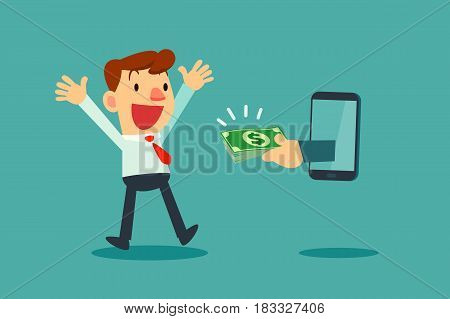 Happy businessman receiving money from smart phone screen.