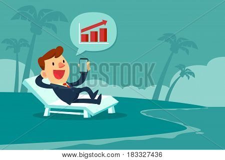 Happy businessman relaxing on beach chair and looking at bar chart on smart phone screen. Remote working concept.
