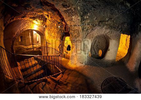 Derinkuyu underground city cave city in Cappadocia Turkey