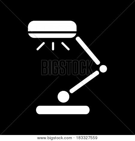 Reading-lamp Icon Isolated on black Background. Table lamp, classic design. Eps 10
