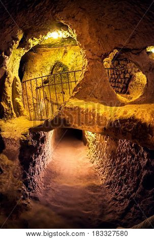 Derinkuyu underground city cave city in Cappadocia Turkey