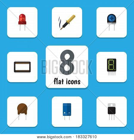 Flat Appliance Set Of Mainframe, Triode, Transistor And Other Vector Objects. Also Includes Soldering, Transistor, Calculate Elements.