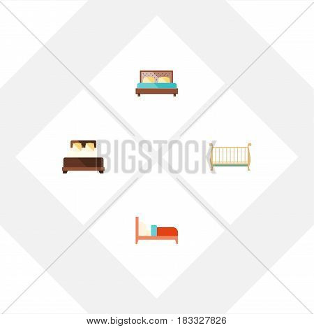 Flat Bedroom Set Of Cot, Bearings, Hostel And Other Vector Objects. Also Includes Mattress, Hostel, Bedroom Elements.