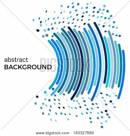 Abstract background with blue lines and flying pieces. Colored circles with place for your text on a white background.