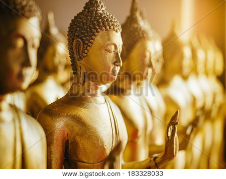 Gold Buddha Statue in row Religion Antique collection