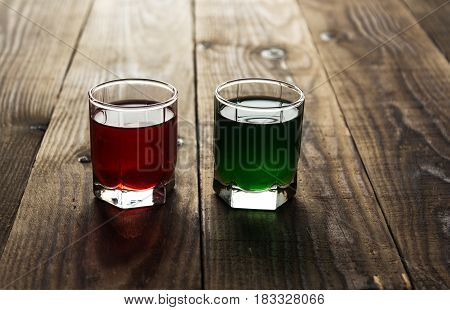 Green And Red Alcohol Shot Drinks