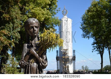 KIEV, UKRAINE - Nov 26, 2016: Monument to victims of Holodomor. Famine-genocide of 1923-1933 years in the Ukraine