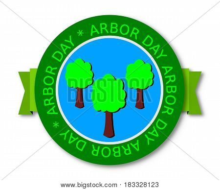 Arbor Day, Green Banner  With  Tree