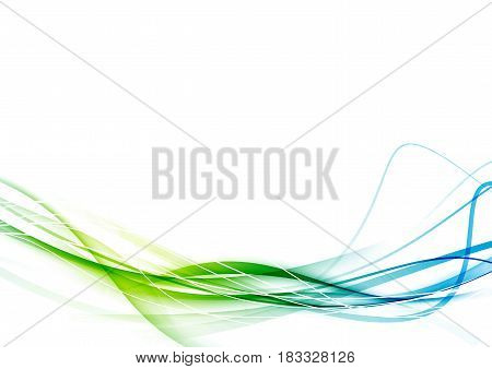 Fresh smooth green to blue color gradient transition modernistic abstract dynamic speed fantasy line background. Vector illustration