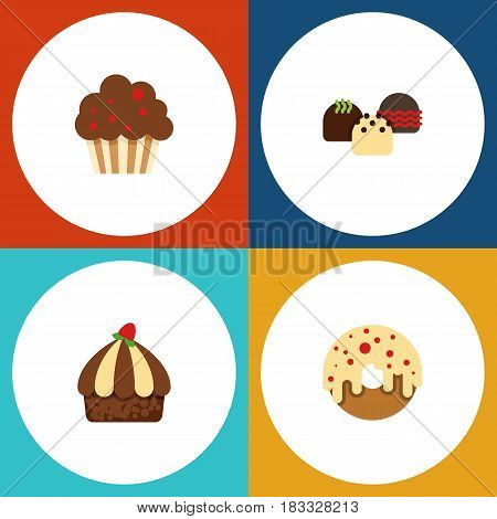 Flat Cake Set Of Muffin, Cupcake, Cake And Other Vector Objects. Also Includes Doughnut, Donuts, Cake Elements.