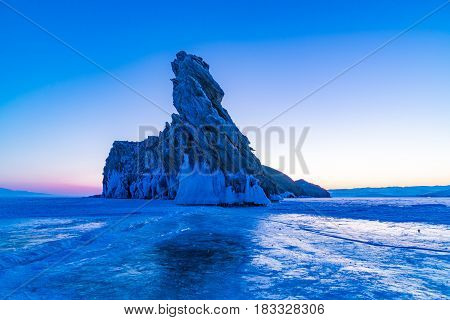 Early morning at Ogoy Island in Lake Baikal Russia in winter