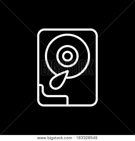 Hard disk line icon. Isolated on black background. Eps 10