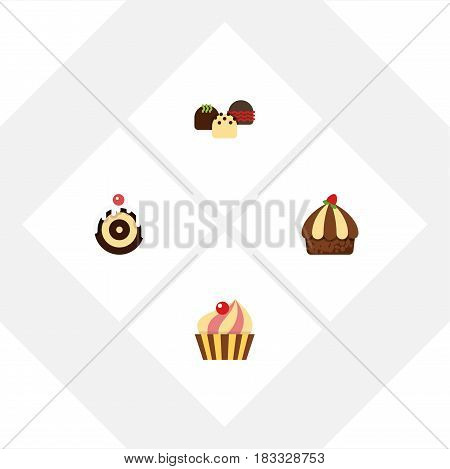 Flat Cake Set Of Cake, Cupcake, Sweetmeat And Other Vector Objects. Also Includes Confectionery, Sweetmeat, Cupcake Elements.