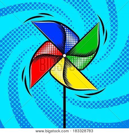Children colorful toy vane pop art style vector illustration. Comic book style imitation