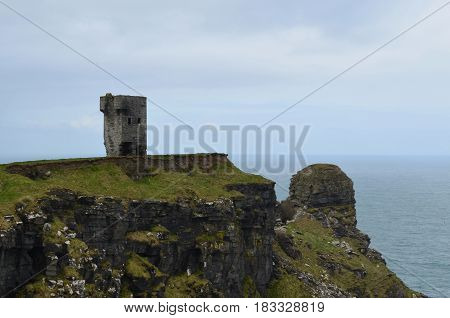 Tower on the cliffs at Hag's Head in Ireland.