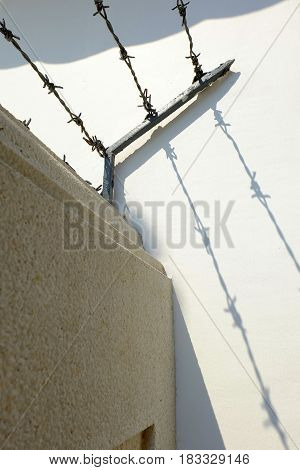 Shadow of Barbed Wire on Cement Wall.
