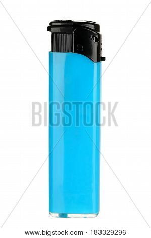 single blue lighter isolated on white background