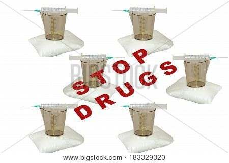 Syringe measuring cup and package with white powder on background isolated
