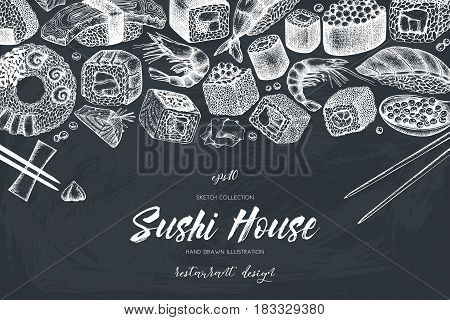 Vector design with hand drawn sushi roll illustrations. Vintage frame with asian food sketch on chalkboard. Seafood Restaurant menu template