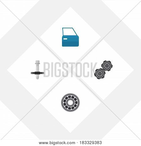 Flat Workshop Set Of Automobile Part, Brake Disk, Muffler And Other Vector Objects. Also Includes Pulley, Ball, Disk Elements.