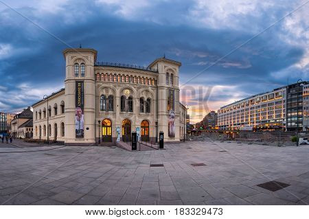 OSLO NORWAY - JUNE 12 2014: Panorama of Nobel Peace Center in Oslo. The Nobel Peace Center was opened in 2005 by His Majesty King Harald V of Norway.