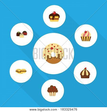 Flat Cake Set Of Cupcake, Cake, Doughnut And Other Vector Objects. Also Includes Confectionery, Cookie, Pastry Elements.