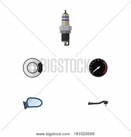 Flat Parts Set Of Metal, Spare Parts, Auto Component And Other Vector Objects. Also Includes Speedometer, Tachometr, Joint Elements.