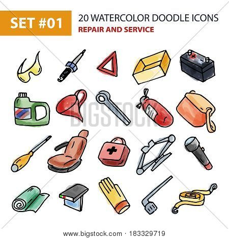 Set of hand drawn watercolor labels and stickers of garage equipment, automotive equipment. Vector illustrations for graphic and web design, of wrench, screwdriver, gloves, battery, first aid, candle.