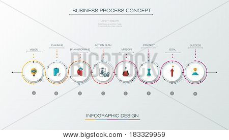 Vector infographics timeline design template with label design and icons 8 options or steps. Can be used for content, business, process, infographics, diagram, chart, digital network, flowchart, process diagram, time line
