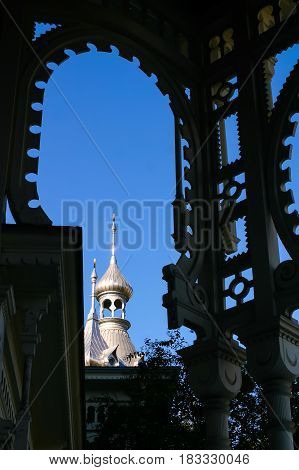 TAMPA, FLORIDA, USA - DECEMBER 06, 2003: Moorish arch silhouette of the University of Tampa Florida