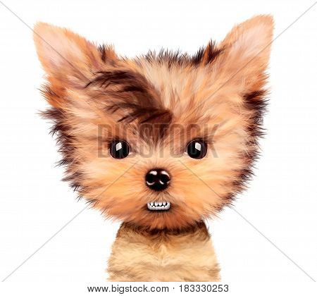 Funny angry puppy isolated on white. Realistic illustration of yorkshire terrier with clipping path