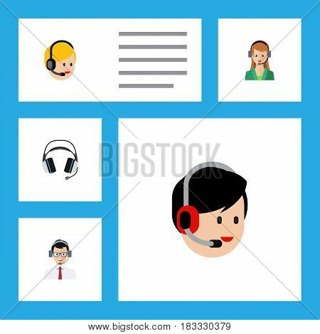Flat Call Set Of Secretary, Call Center, Earphone And Other Vector Objects. Also Includes Center, Call, Help Elements.