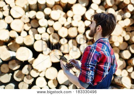 Forester with touchpad looking at stack of logs