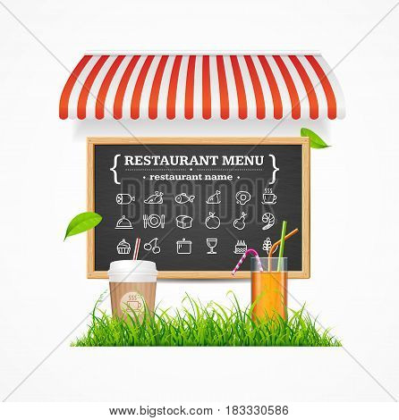 Restaurant Menu Concept witch Tent, Menu Blackboard, Cup of Coffee, Cocktail and Green Grass Line. Vector illustration
