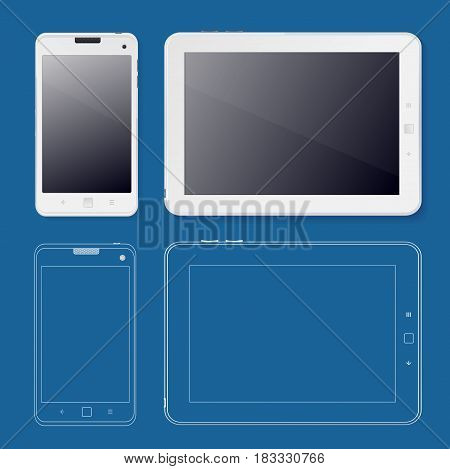 Tabet and Phone Ui Web Design Template White on a Blue Background Technology for Device. Vector illustration