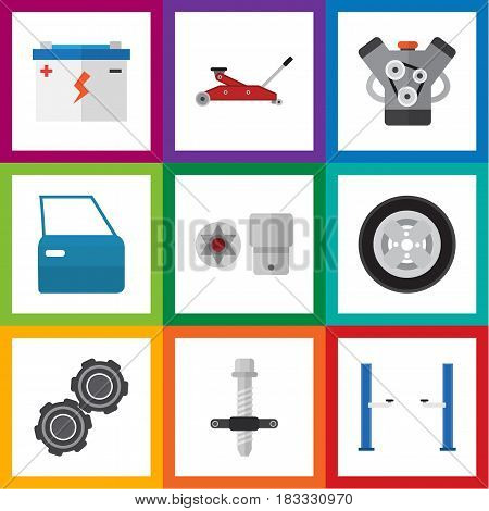 Flat Auto Set Of Automobile Part, Belt, Tire And Other Vector Objects. Also Includes Door, Puller, Car Elements.