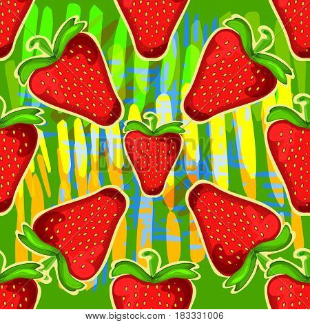 Strawberry seamless vector pattern. Can be used in web design, printed on fabric, pape. Background, element in a composition.