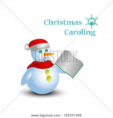 Cartoon snowman in santa hat singing christmas carol