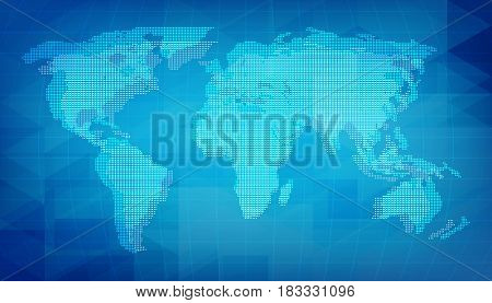 World map of digital grid texture. Blue abstract background with pixel elements.