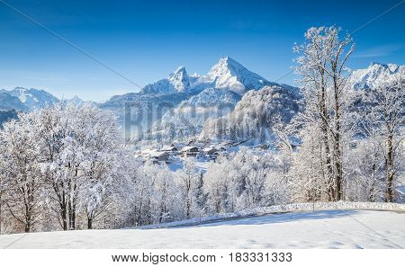 Town Of Berchtesgaden With Watzmann In Winter, Bavaria, Germany