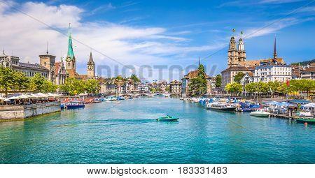 Zürich City Center With River Limmat, Switzerland