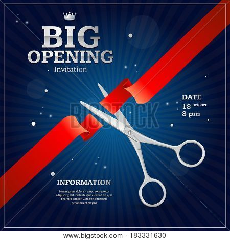 Grand Opening Invitation Card on a Blue Background witch Silver Scissor Cut Red Tape. Vector illustration