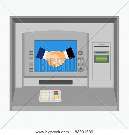 Street ATM teller machine isolated on white background. Vector illustration.