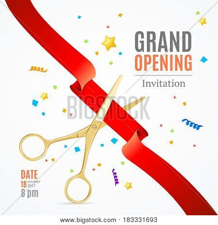 Grand Opening Invitation Card on a White Background witch Gold Scissor Cut Red Tape. Presentation Concept and Swirl, Star. Vector illustration
