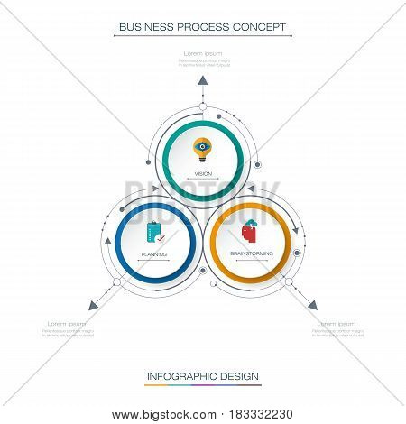 Vector Infographic 3D circle label design with arrows sign and 3 options or steps. Can be used for business, infograph, template, process, infographics, diagram, chart, flowchart, processes diagram, time line